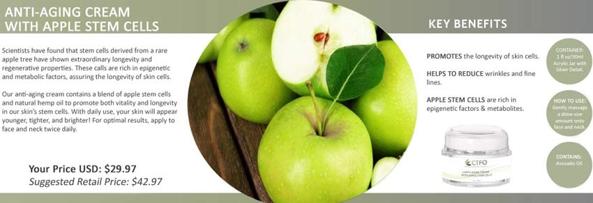 Buy - Order CTFO CBD Free Anti-Aging Cream with Apple Stem Cells